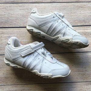 Other - 🍭Girls White & Silver Glitter Rhinestone Sneakers